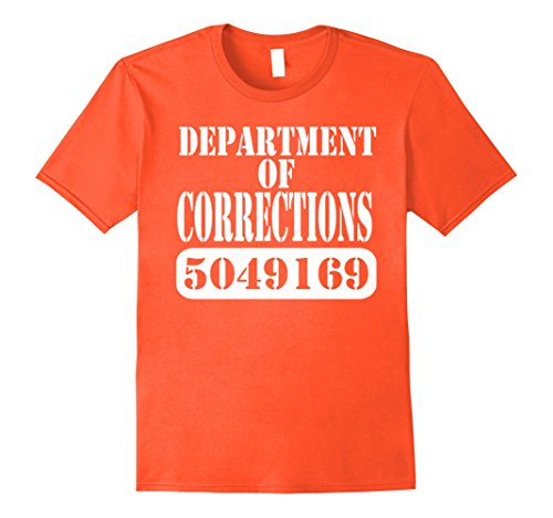 Department Of Correction Costume (Mens Department of Corrections Prisoner Halloween Costume T-shirt Medium Orange)