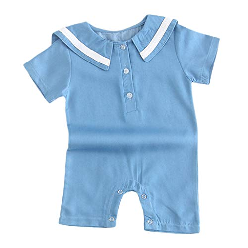 NUWFOR Newborn Baby Girl Boy Short Sleeve Sailor Collar Striped Romper Outfits Clothes (Light Blue,12-18 Months)
