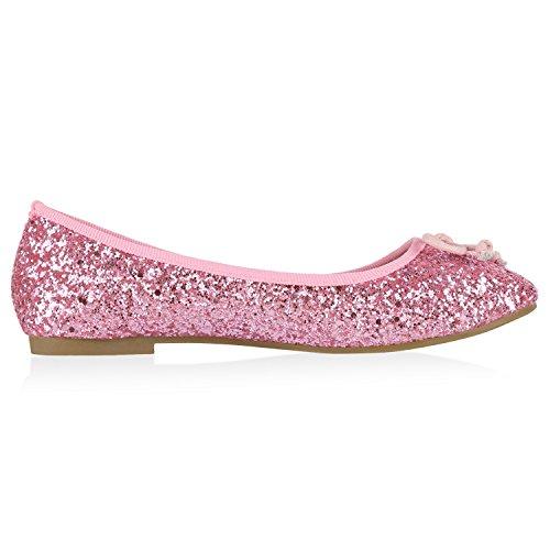 napoli-fashion Klassische Damen Ballerinas Glitzer Schuhe Flats Lackleder-Optik Slippers Ballerina Schuhe Schleifen Freizeitschuhe Jennika Rosa Creme Glitzer