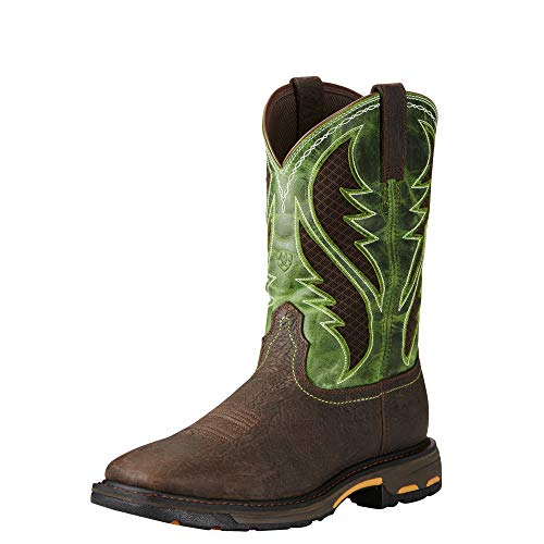 Ariat Work Men's Workhog Venttek Composite Toe Work Boot, Bruin Brown/Grass Green, 9.5 2E US