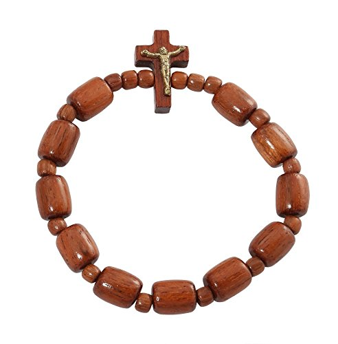Catholic Stretch Bracelet Jatoba Wood Beads with Cross Crucifix - Made in Brazil (Wood Cross Bracelet)