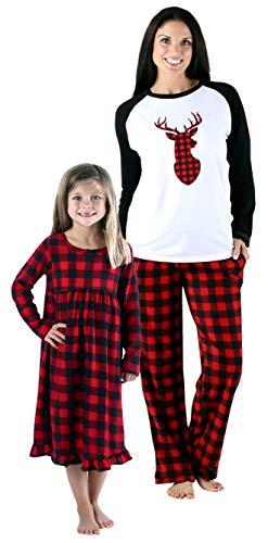 SleepytimePjs Holiday Family Matching Fleece Deer Plaid Pajama PJ Sets d3d6c184e