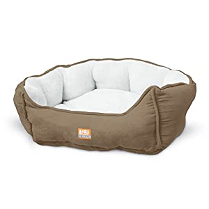 "Animal Planet Round Plush Micro Suede & Sherpa Bolster Pet Bed for Dogs & Cats, Puppies, and Small & Toy Breeds; Cuddly and Warm for Burrowing and Snuggling, Easy-to-Clean Surface 17""Lx15""Wx9""H"