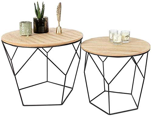 nobrand Set di 2 tavolini Rotondi in Metallo Nero e Legno MDF capacit/à di carico Fino a 20 kg 2 tavolini Geometrici in Stile Vintage con Funzione Cestino