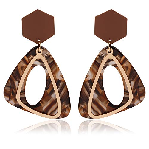 Acrylic Dangle Earrings for Women Girls Tortoise Shell Triangle Earring Lightweight 18K Gold Plated -