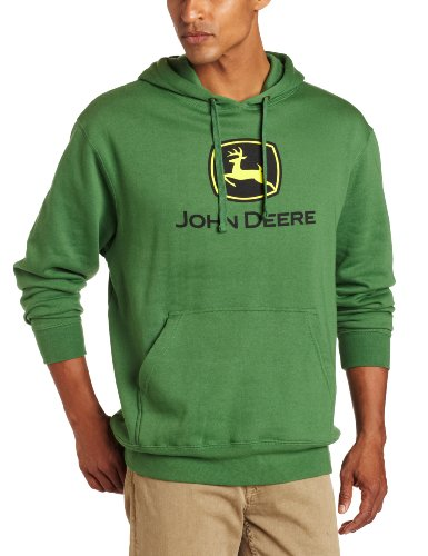 John Deere Men's Trademark Logo Core Hood Pullover Fleece, Green, X-Large