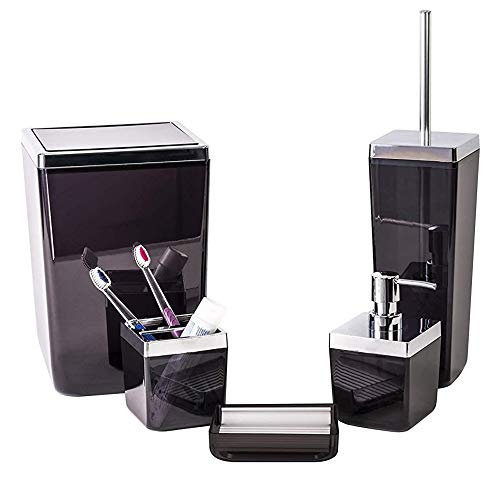 HOLDN' STORAGE Bathroom Accessories Set - 5 Piece,Black Elegant and Highly Durable Decor, Bath & Home Accessory Set, Soap Dish, Soap Dispenser, Toilet Brush, Toothbrush Holder & Trash Can - COMPLETE 5 PIECE BATHROOM ACCESSORY SET: We've made this modern bath accessory set complete with everything you need to furnish your bathroom in style. Each set includes: a well-designed toilet brush, garbage can, soap dispenser, toothbrush holder, and soap dish to compliment any bathroom design ELEGANTLY DESIGNED TO MATCH ANY BATHROOM: Giving you the aesthetic feel of simplicity and durability each piece of this set has been made from high quality polystyrene to avoid mold and mildew growth, and designed to be an aesthetic and functional element in your home's bathroom EASY-CLEAN, NO FUSS BATH ACCESSORY SET: Ditch all those bathroom accessories that just don't match or do the trick anymore. No more settling with poorly-designed and cheap-manufactured bathroom sets. We've come up with a unique blend of usability, durability and style - ensuring you that convenience is something you'll love about this bath accessory set - bathroom-accessory-sets, bathroom-accessories, bathroom - 41Jseb%2BNuqL -