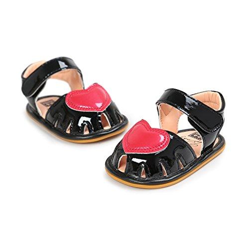 Sandalias De Bebe,BOBORA Prewalker Zapatos Primeros Pasos Para Bebe Lovely Hollow Princesa De Goma Sandalia Inferior negro