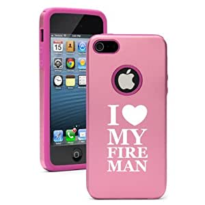 Apple iPhone 5c Pink CD4604 Aluminum & Silicone Case Cover I Love My Fireman