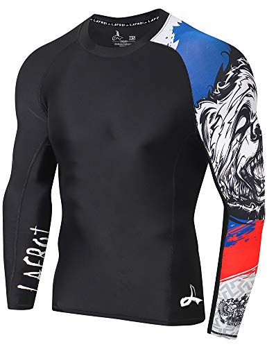 LAFROI Herren Langarm-Baselayer, LSF 50+, Performance-Fit, Kompression, Rash Guard-CLYYB S Asymmetrischer Honor Strike