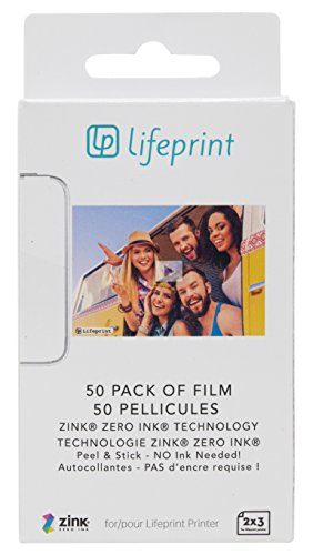 Lifeprint 50 pack of film for Lifeprint Augmented Reality Photo AND Video Printer. 2x3 Zero Ink sticky backed - Potter Photo Harry Film