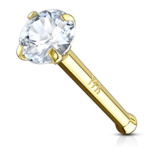 14k Yellow Gold 2mm CZ Simulated Diamond 20g Nose Stud