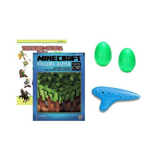 (Legend of Zelda Series Easy Piano Book / Minecraft Volume Alpha 2 Piano Book Bundle w/ Green Shakers & Blue Zelda Ocarina of)
