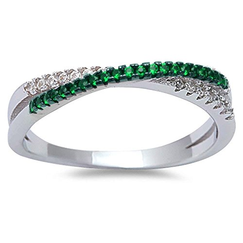 Simulated Emerald & Cubic Zirconia Infinity .925 Sterling Silver Ring Sizes (Emerald Wedding Band)