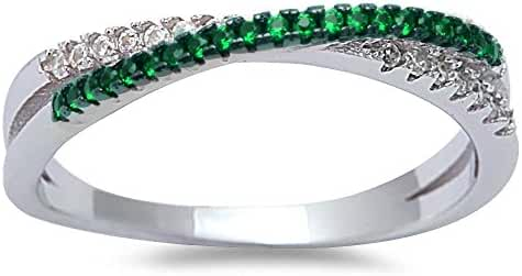 Simulated Emerald & Cubic Zirconia Infinity .925 Sterling Silver Ring Sizes 4-10
