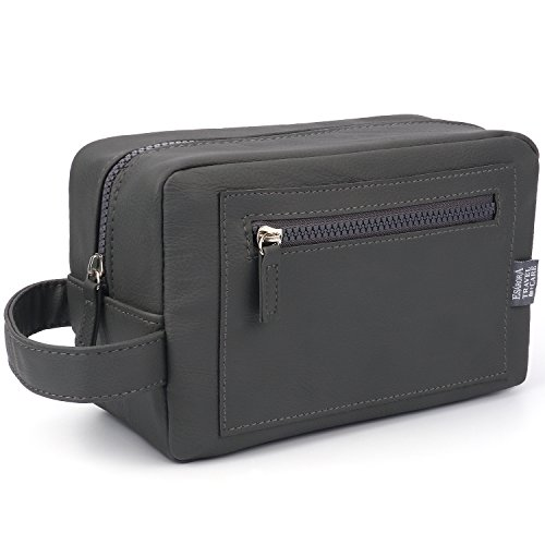 Toiletry Bag, ESARORA PU Leather Travel Toiletry Bag Dopp Kit for Men Small Gift for him(Grey)