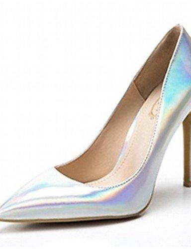 ZQ Zapatos de mujer-Tac¨®n Stiletto-Tacones-Tacones-Boda / Oficina y Trabajo / Fiesta y Noche / Vestido / Casual-Cuero Patentado / Microfibra- , silver-us2.5 / eu32 / uk1 / cn31 , silver-us2.5 / eu32 silver-us4-4.5 / eu34 / uk2-2.5 / cn33