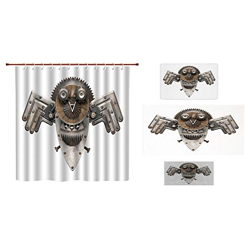 (iPrint Bathroom 4 Piece Set Shower Curtain Floor mat Bath Towel 3D Print,Owl Figure Cog Hardware Gear Machinery Animal,Fashion Personality Customization adds Color to Your Bathroom.)