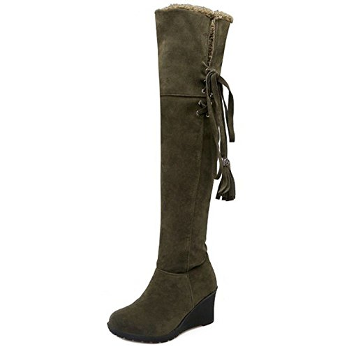 Boots Taoffen Green Cuissardes Hiver Compensées Bottes Femmes qqrTFEwza