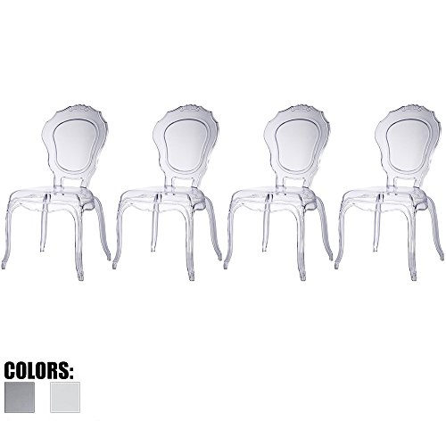 2xhome - Set of Four (4) - Belle Style Ghost Side Chairs Dining Room Chair - Clear Accent Seat - Lounge No Arm Arms Armless Less Chairs Seats Higher Fine Modern Designer (Bella Dining Chair)