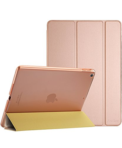ProCase iPad 9.7 Case 2018 iPad 6th Generation Case / 2017 iPad 5th Generation Case - Ultra Slim Lightweight Stand Case with Translucent Frosted Back Smart Cover for Apple iPad 9.7 Inch -Rose Gold