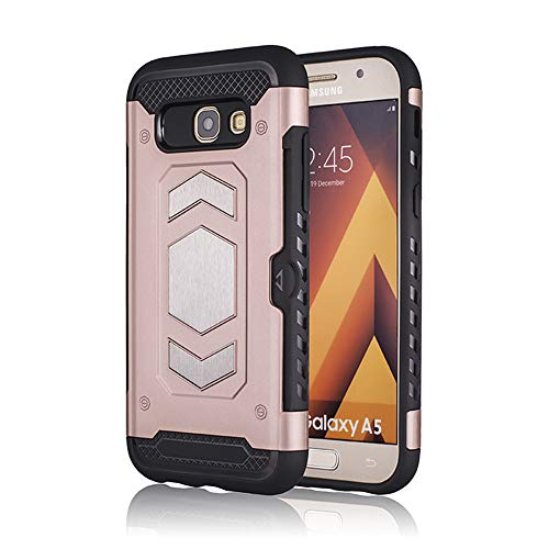 Case Compatible with Heavy Duty Full Body Protector Galaxy A5 2017,with Card Slot and Magnetic Car Mount (Samsung Galaxy A5 2017, Rose Golden)