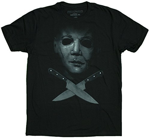 Men's Halloween Michael Myers Crossed Knives T-Shirt (XX-Large)