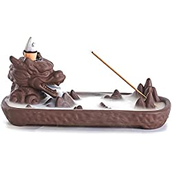 ZINGYOU Dragon Ceramic Backflow Incense Burner with Incense Cones for Home Decor (6.7 x 3.1 x 2.6 (inch))