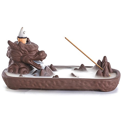 ZINGYOU Dragon Ceramic Backflow Incense Burner with Incense Cones for Home Decor (6.7 x 3.1 x 2.6 (inch)) by ZINGYOU