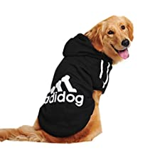 "Pawz Road 2014 New Arrive Dog Pet Cat Adidog Sweater Fleece Clothes Hot (Black, M:Back 9.8"" Chest 14.2"")"