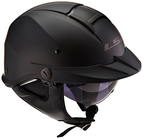 LS2 Helmets Rebellion Unisex-Adult Half Helmet Motorcycle Helmet (Matte Black, Large)