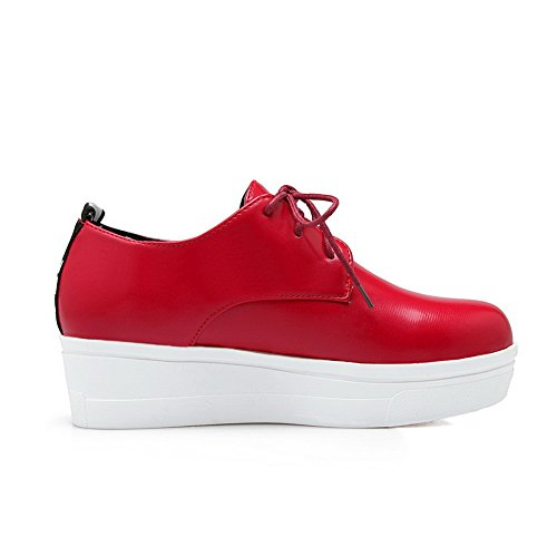 Shoes Red Round BalaMasa Flats Ladies Platform Urethane Toe Lace Up pSxxAqw8HT