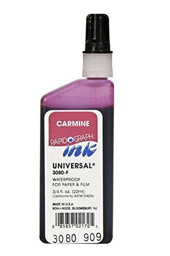 Koh-I-Noor Dye-Based Universal Drawing Ink, 0.75 Ounce Bottle, Carmine (Tracing Dye)