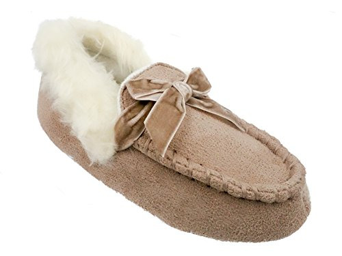 Toddler Girls Microsuede Moccasin Slippers with Velvet Bow & Faux Fur Cuff