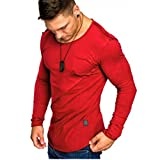 vermers Clearance Men Long Sleeve T Shirts - Casual Beefy Muscle Button Basic Solid Blouse Tee Shirt Tops(L, Red)