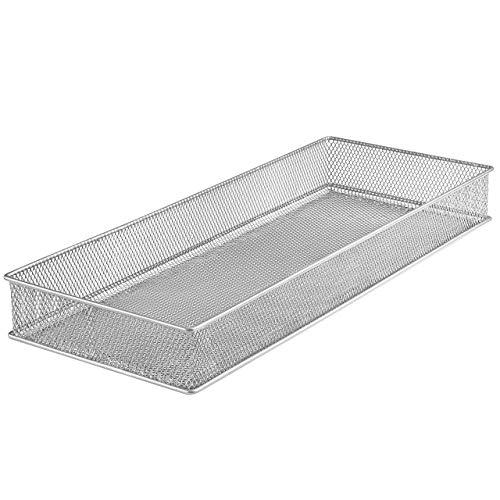 - YBM HOME Silver Mesh Drawer Cabinet and or Shelf Organizer Bins, School Supply Holder Office Desktop Organizer Basket 1611s (1, 6x15x2 Inch)