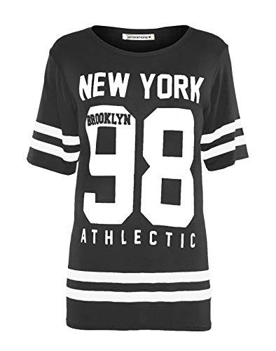 baseball Cima Janisramone Le di stripe a Brooklyn cavallo di 98 Nuovo Varsity York Carbone donne New extralarge Stampare signore Maglietta basso xqqpCgI