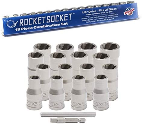 """ROCKETSOCKET   Made in USA   1/4"""" Extraction Socket Set   Remove Damaged, Frozen, Rusted, Rounded-Off Bolts, Nuts & Screws   18 Pieces, Impact Grade   100% American Steel"""