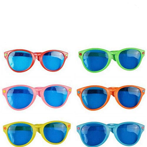 Sohapy 6 Pack Colorful Jumbo Blue Lens Sunglasses Christmas,Party Favor,Halloween Costumes Cosplay,Masquerade Balls,Wedding,Birthday,Fun Party Props -