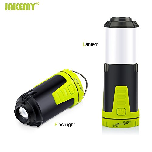 Led Lantern , Jakemy 2 in 1 flashlight Lantern for Camping & Emergencies with 5 light Modes High, Medium, Strobe, Red Light and Strobe red ( Collapsible , Magnetic )