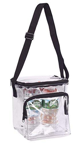 (Clear Lunch Bag Stadium Security Approved Clear Lunch Box with Adjustable Strap and Front Zippered Pocket Thick, Easy to Clean and Water Resistant Tote Bag Great for Men, Women, Kids)