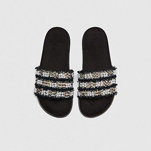 Ocio Estilo 39 Verano Nuevo Zapatillas de Cool 34 Plano Sandalias Moda Fondo Verano Cuero Primavera YMFIE de wWqYn4pqt