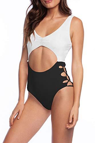 (Viottiset Women's One Piece Cut Out Swimsuit Sexy Swimwear Monokini White Black L)