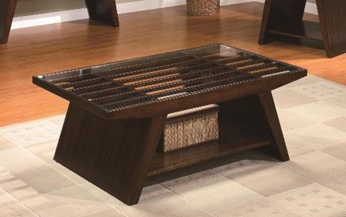 Brand New 48''x28''x19''H Midori Coffee Table with Glass Top - 48' Cocktail Table Set