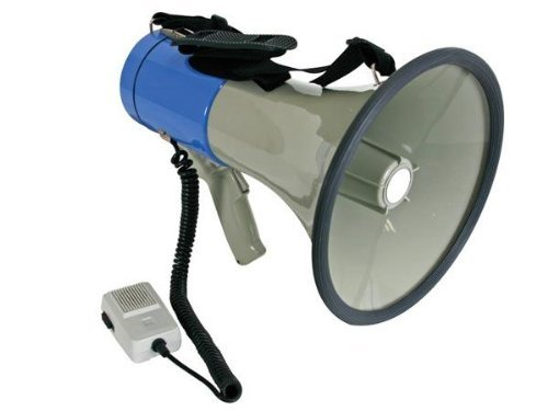 Velleman MP25SFM Power Megaphone, 1 Grade to 12 grade, 25W, 8 x 1.5V C Batteries
