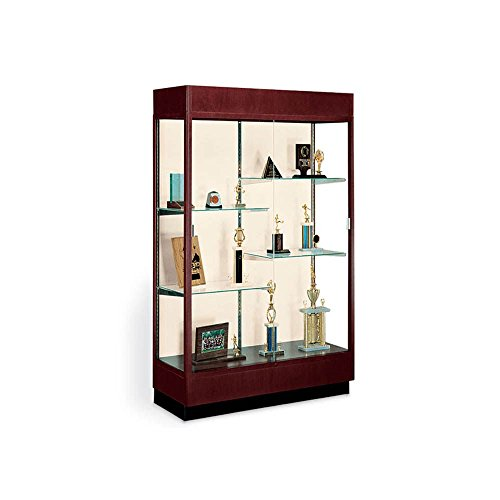 Classic Display Case with Fabric Backing and Cornice Light Dimensions: 48''W x 18''D x 70''H Weight: 281 lbs Cordovan/Oyster Backing by Waddell