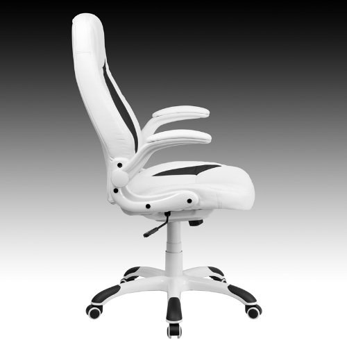 Amazon.com: High Back White Leather Executive Swivel Office Chair with  Flip-Up Arms: Kitchen & Dining - Amazon.com: High Back White Leather Executive Swivel Office Chair