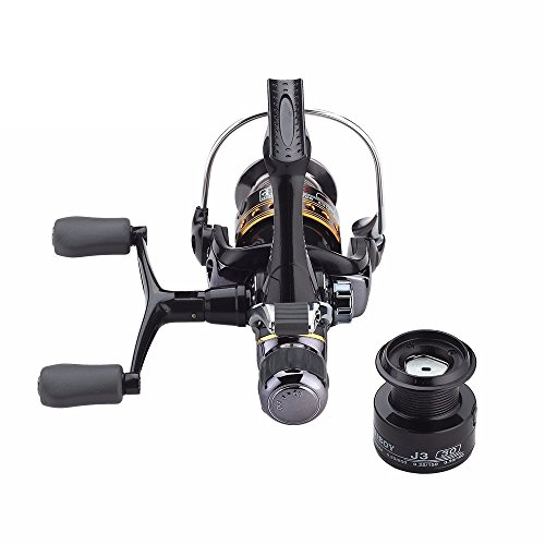 Spincasting Fishing Reels Carbon Fiber Front and Rear Drags J3FR Double Rocker Metal Spinning Wheel with a Free Spare Spool