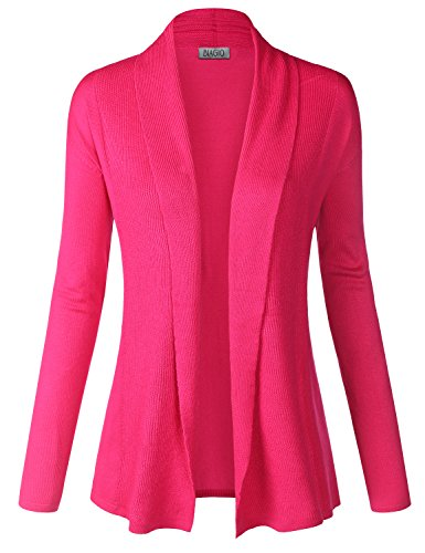 BIADANI Women Classic Soft Long Sleeve Open Front Cardigan Sweater Magenta Medium