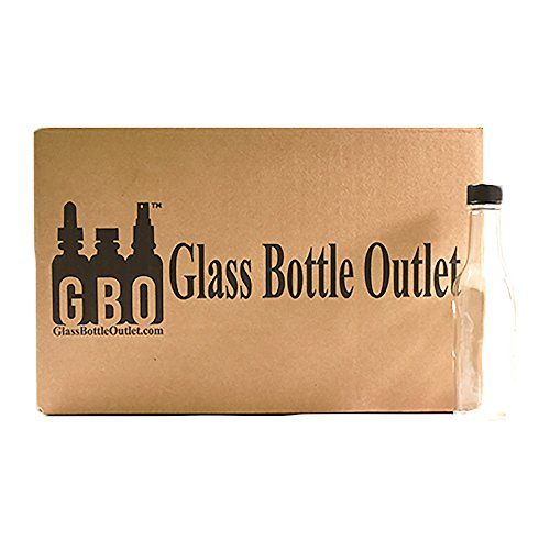 (24 Pack) 5 oz. Clear Glass Hot Sauce Bottle with Black Cap + Shrink band and Orifice Reducer (24/400) by GBO GLASSBOTTLEOUTLET.COM (Image #5)